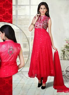 Crimson Red embroidered festival anarkali suit in Net fabric.