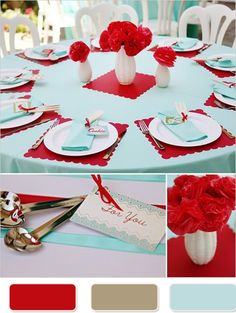 The Red Wedding Color Combination Ideas--- really like the rose attaching the silverware together woooh