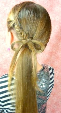 Exclusive Cute Girl Hairstyle Bow Braid – Latest Hairstyles Splendor of braids: Braided hairstyles are hugely important and popular among the stylish girls. Ponytail Hairstyles Tutorial, Ponytail Tutorial, Plaits Hairstyles, Pretty Hairstyles, Bow Braid, Fancy Ponytail, Girl Hair Dos, Princess Hairstyles, Diy Hairstyles