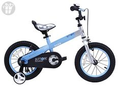RoyalBaby CubeTube Kid's bikes, unisex children's bikes with training wheels, various trendy features, gifts for fashionable boys & girls, Matte Blue Buttons, 12 inch (*Amazon Partner-Link)
