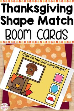 Engage your students with these Thanksgiving shape matching Boom Cards! These digital math games are a great way for students practice shape recognition and shape matching. These math games are perfect for independent math centers, distance learning or small group math instruction. Ideal for PreK, Kindergarten, and First grade! #mathcenters #shapes #fallactivities