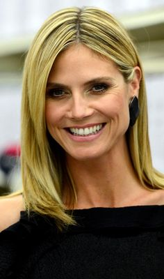 Heidi Klum's Shoulder Length Bob With Side Swept Bangs Hairstyle