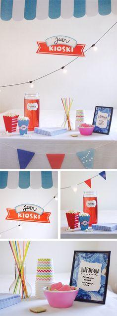 Kioski | tuunattu | lasten | askartelu | syntymäpäivät | kioski | viirit | juhlat | koti | koristelu | tulostettava | free | printable | kid crafts | DIY ideas | home | paper | cardboard | Pikku Kakkonen