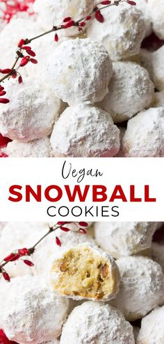 Vegan Snowball Cookies are festive little holiday cookies that are buttery, full of pecans and rolled in powdered sugar! Made in 1 bowl with 5 ingredients. recipes and nutrition and drinks recipes recipes celebration diet recipes Vegan Christmas Cookies, Holiday Cookies, Vegan Christmas Desserts, Holiday Treats, Christmas Treats, Vegan Treats, Vegan Foods, Yummy Treats, Healthy Foods