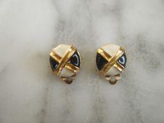 Vintage White/Black/Gold Enamel Nautical Clip On Earrings by DancingSunbeams on Etsy Clip On Earrings, Stud Earrings, Black Gold, Nautical, Enamel, Etsy, Vintage, Jewelry, Navy Marine