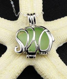 Elephant Jewelry Necklace Sea Glass