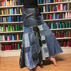 Size 8 Patchwork Denim Mermaid Skirt Extra Long от sewsomer