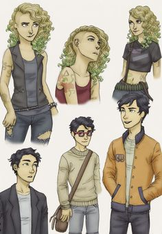 punk!annabeth and preppy!percy : Art by ah-nada | Colored by martha-and-george
