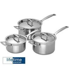 Le Creuset 3 Ply Stainless Steel 3 piece Saucepan Set at eCookshop