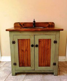 Country Pine Bathroom Vanity With Hammered By Cantonantiques