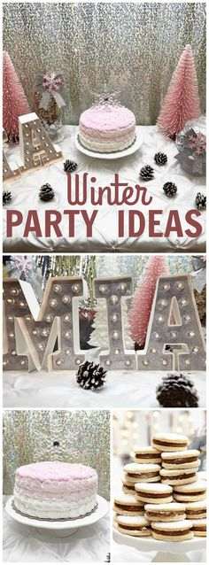 This pretty in pink winter wonderland party just sparkles! See more party ideas at CatchMyParty.com!