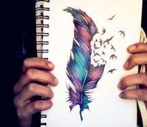 art, birds, color, colour, drawing.