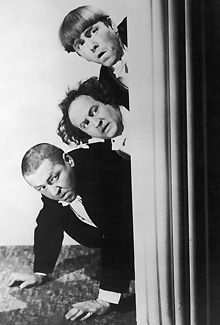 The film is billed as a modern adaptation of The Three Stooges, seen here circa 1940, from top, Moe Howard, Larry Fine and Curly Howard.