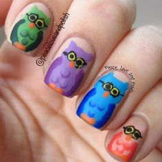 "Nerdy owls because as you know ""nerds of a feather stick together"" :) @peaceloveandpolish"
