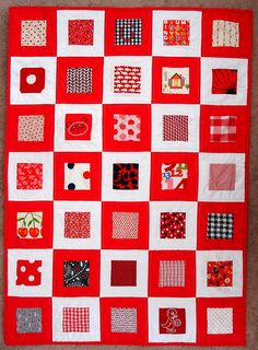 red and white baby quilt by blempgorf, via Flickr