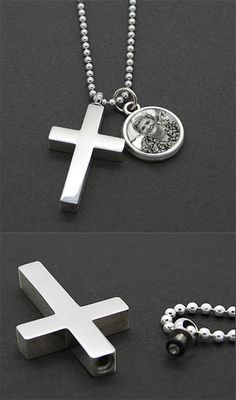 This complete kit makes a complete memorial photo charm with cross urn necklace. Kit includes Memorial cross urn with screw top that unscrews to hold a small am
