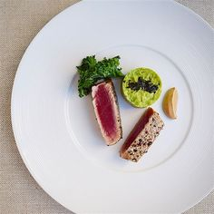 Peppercorn crusted ahi tuna, avocado nori, lemon garlic kale with fermented soy bean yogurt