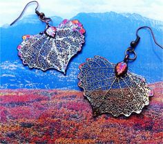 Real Leaf Jewelry, Adorable Baby Cottonwood Leaves Earrings, Iridescent Copper NEW