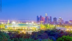 Dodger Stadium and the LA Skyline Malibu Los Angeles, Los Angeles Skyline, Los Angeles Travel, Downtown Los Angeles, Los Angeles California, Los Angeles Dodgers, Southern California, Seattle Skyline, New York Skyline