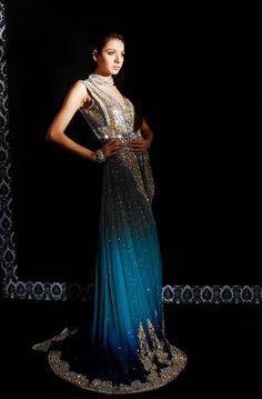Pakistani bridal dress, blue indo western gown @RaniEmaan (Pakistan, NYC, DC) http://raniemaan.com/index.html.