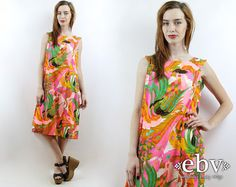#Vintage #70s Tropical #Hawaiian Floral Tent #Dress, fits L by #shopEBV http://etsy.me/1DlzOXx @Etsy #summer #vacation #resort #beautiful