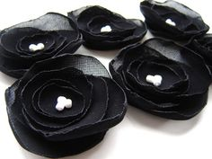 Handmade Black Chiffon Poppy Flower Appliques Sew on by LoraDesign, $6.00