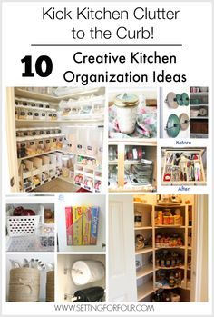 10 Budget Friendly Creative Kitchen Organization and Storage Ideas to help us kick Kitchen clutter to the curb!   www.settingforfour.com