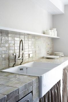 modern rustic kitchen featuring large apron front sink and gray bricks as countertop and backsplash - A Interior Design Shabby Chic Kitchen, Rustic Kitchen, New Kitchen, Kitchen Modern, Kitchen Tiles, Tile Kitchen Countertops, Kitchen Counter Tile, Stone Kitchen, Kitchen Contemporary