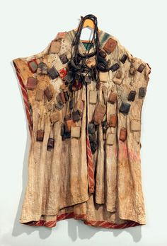 West Africa | Cloak with amulets | Cotton, leather amulets