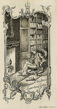 Bookplate of Egerton Castle | Artist: Castle, Agnes Date: 1892 Description: States, 'Ex Libris Egerton Castle. MA;' depicts a library setting with a man reclining in a chair next to a fire. Signed at bottom right 'Agnes Castle, Del. 1892.' Format: 1 print, col., 12 x 6 cm. Source: Pratt Institute Libraries, Special Collections 181 (sc00720)