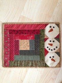 ...............Mia's Cottage.....: Workshop snowman mug rug