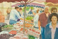 Philip Y. Davies (1953-2016) - Contemporary Watercolour, French Market Scene - Sulis Fine Art