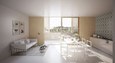 Mixed use development . Lan Architecture, Mixed Use Development, Interior Rendering, Lyon, Divider, Windows, Furniture, Home Decor, Homes