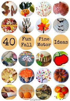 fall activities for kids Huge list of 40 Fall Themed Fine Motor Activities for toddlers, preschoolers and kindergartners! Stamping, cutting, twisting, tweezing and more! Autumn Activities For Kids, Fall Preschool, Fall Crafts For Kids, Preschool Crafts, Toddler Activities, Preschool Activities, Kindergarten Activities, Diy Crafts, Autumn Crafts