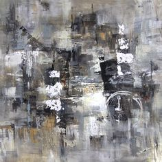 Art in Style 'Abstract in Grays' Hand-Painted Wall Art | Overstock.com Shopping - Big Discounts on Art in Style Canvas