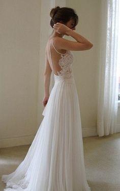 LOW BACK, LACE FRONT, CHIFFON WEDDING DRESS