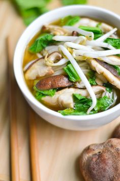 Comfort in a bowl! A simple Asian-style rice noodle soup with bok choy and mushrooms.