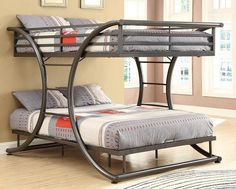 FULL OVER FULL BUNK BED IN DARK GUN METAL. CURVED DESIGN WITH TWO BUILT IN BILATERAL LADDERS. CONSTRUCTED OF STRONG...
