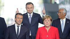 Meeting of the European Union authorities - does anyone know what the President of Poland is doing ? Blond, Presidents, Suit Jacket, Jackets, Polish, Group, News, Fashion, Down Jackets