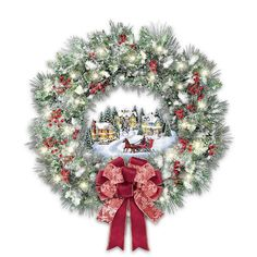 christmas paintings with lights - Thomas Kinkade A Holiday Homecoming Musical Christmas Village Wreath Lights Up by The Bradford Exchange * You can get extra information at the picture web link. (This is an affiliate link). Christmas Wreaths With Lights, Diy Christmas Garland, Christmas Party Games, Christmas Balls, Christmas Holidays, Christmas Decorations, Holiday Decor, Christmas Goodies, Christmas Gifts