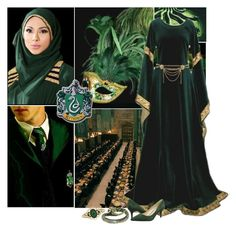 """Muslims in Hogwarts: Slytherin Yule Ball"" by unstealthyninja ❤ liked on Polyvore featuring River Island, 1928 and Nine West"