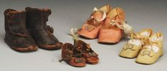 Lot of 4: Pairs of Antique Doll Shoes. : Lot 232