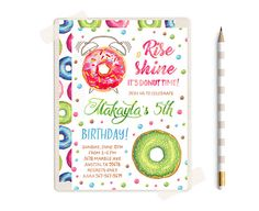 Donut Invitaiton Donut Party Donut Birthday Invitation