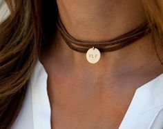 Leather Wrap Choker Boho Choker Leather Lariat von LEILAjewelryshop