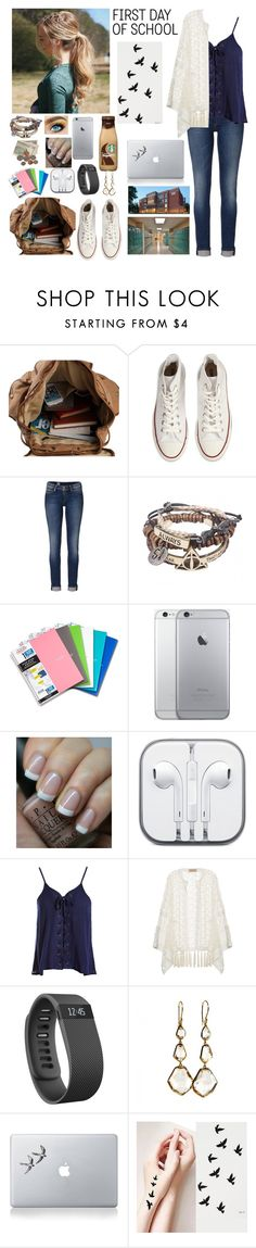 """>First Day of School"" by mackenziewinchester ❤ liked on Polyvore featuring Converse, Tommy Hilfiger, OPI, Sans Souci, ADRIANA DEGREAS, Fitbit, Ippolita, Vinyl Revolution, school and FirstDay"