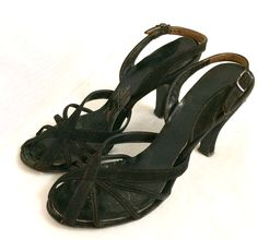 Your place to buy and sell all things handmade Vintage Shoes, Vintage Black, Evening Sandals, Spike Heels, Large Flowers, Black Suede, 1950s, Buy And Sell, Stuff To Buy