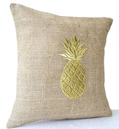 """Natural Burlap Pillowcase with Pineapple Embroidered in Gold Thread - Handmade Fruit Pillow Cover - Modern Decor Chair Pillowcover - Decorative Pillow Cover (20""""x20"""") Amore Beaute http://www.amazon.com/dp/B00KMWRXI8/ref=cm_sw_r_pi_dp_yQNStb0RGK2X406C"""