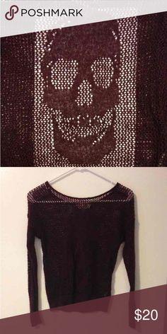 Maroon Fishnet Skull Sweater Runs small. 75% acrylic; 19% polyester & 6% metallic Decree Sweaters Crew & Scoop Necks