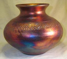 Copper 7.75 Textured Raku Vase by DMWPotteryStudio on Etsy, $50.00