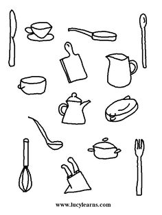 Coloring Pages Of Kitchen Items. Coloring Page Chef  and Activity Sheets Cooking Solus is ready to plant his garden Kids identify